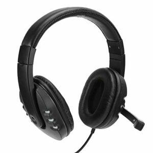 Exliy Casque de Jeu, Casque Supra-auriculaire 3,5 mm + USB, Casque de Musique stéréo, Cache-Oreilles Respirants en Cuir Artificiel