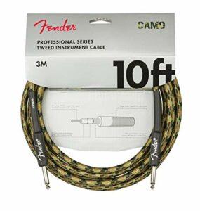 Fender® Câble d'instrument professionnel série « Woodland Camo » – Jack droit – 3 m
