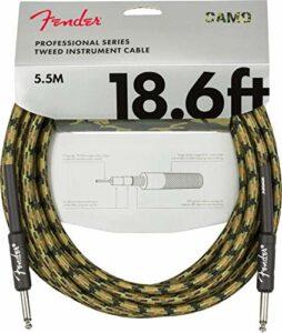 Fender® Câble d'instrument professionnel série « Woodland Camo » – Jack droit – 5,5 m