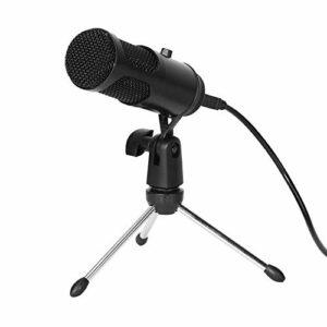 Fesjoy Microphone d'instrument, Microphone à condensateur USB Micro d'ordinateur Plug and Play avec contrôle du Volume pour l'enregistrement de Jeux en Direct