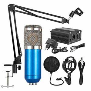 Fesjoy Microphone d'instrument, Microphone à Suspension Professionnel BM800 Ensemble de Microphone à condensateur d'enregistrement de Diffusion de téléphone Portable avec Appareil d'alimentation 48 V