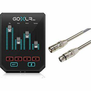 GoXLR Mini – Mixer & USB Audio Interface for Streamers, Gamers & Podcasters & Amazon Basics Câble de microphone XLR tressé |1,80 m