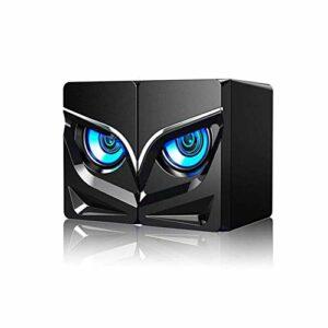 GXYtable cloth Haut-parleurs de l'ordinateur câblé en Forme de LED Cool, Mini USB 2.1 Haut-Parleur de Bureau Stereo Surround Haut-Parleur STERWOOFER pour PC