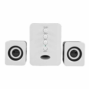 Haut-parleur Bluetooth Deskstop, HIFI sans fil STEREO PC PC-PLATEAU PC, 2.1 Système de haut-parleurs sans fil avec une diffusion STEREO FM compatible avec tous les périphériques Bluetooth (blanc)