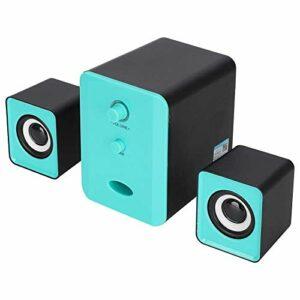 Haut-Parleur Bluetooth Mini USB Bluetooth, Haut-Parleur Bass Heavy Stéréo Surround pour Ordinateur Portable Ordinateur Portable (Noir et Bleu (Color : Black+Blue)