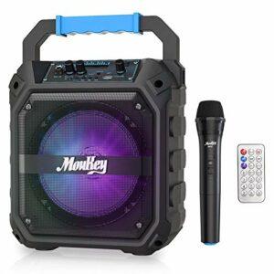 Haut-parleurs Karaoké Moukey Système de karaoké 6,5″ Bluetooth Enceinte Sono Portable rechargeable avec Micro sans Fil, Radio FM, DJ LED, fit pour la fête de Noël, Cadeau, activité de plein air