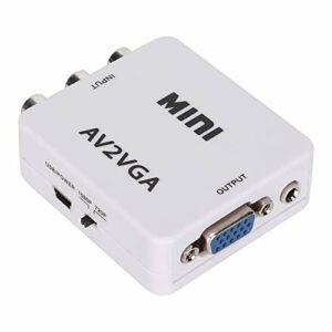 iFCOW Adaptateur AV vers VGA externe 480P Mini Composite AV vers VGA pour TV et convertisseur audio vidéo