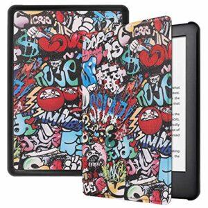 Jorisa Coque pour Amazon New Kindle 6 Pouce 2019,Étui à Rabat Magnétique en Cuir PU Mince Léger Smart Housse Couverture avec Veille/Réveil Automatique,Graffiti