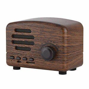 Kafuty Haut-Parleur Bluetooth Portable Rétro Bureau FM Radio Haut-Parleur Bluetooth sans Fil avec molette de réglage stéréo Microphone Support USB Carte TF pour Famille ou Bureau(Bois de Rose)