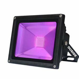 LED UV lumière noire, lumière de la scène 30W LED violet, 85-265V AC LED IP65 longueur d'onde imperméable à l'eau 395-400nm Lumière d'inondation UV-A pour une célébration fluorescente
