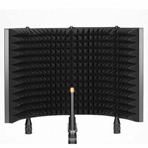 Neewer Bouclier d'Isolation Pro de Microphone à 4 Panneaux, Façade en Mousse Haute Densité et Plaque Arrière en Métal Ventilée, Compatible avec Blue Yeti et Tout Équipement de Micro à Condensateur