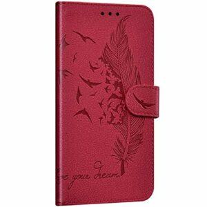 NSSTAR Compatible avec Samsung Galaxy A8s Coque Portefeuille Housse Cuir Etui à Rabat Plume Oiseau Rétro Motif Flip Case Fermeture Magnétique Porte-Carte Fonction de Support,Rouge