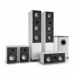NUMAN Reference 851 Système HiFi Audiophile Ensemble d'enceintes 5.1 (2 Enceintes Colonne, 2 Enceintes bibliothèque, subwoofer de 16,5cm de 6.5″) – Blanc & Argent