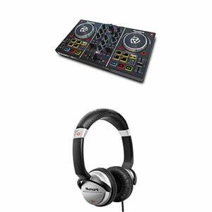 Numark Party Mix – Contrôleur DJ 2 Voies/Serato DJ Lite/Commandes de Pads et Éclairage Lumineux + Numark HF125 – Casque Professionnel pour DJ