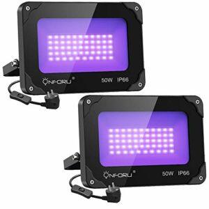 Onforu Lot de 2 Projecteur UV LED 50W, IP66 Imperméable UV Lumière Noire, Étanche Lampe LED Ultra-violet avec Prise, Éclairage de Scène pour Noël, Aquarium, Peinture Fluo, Affiche Fluorescente, Fête
