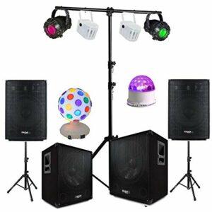PACK SONO 3000W + JEUX DE LUMIERE ET PORTIQUE DJ ROBUSTE – PA SONO DJ MIX LED BAR CLUB DISCO MARIAGE FISTA