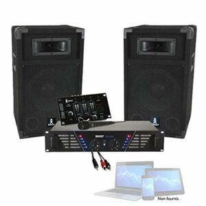 PACK SONO DJ 480W sonorisation avec Ampli + Enceintes + Table de Mixage + Micro + Câble PA DJ SONO MIX LIGHT Anniversaire Noël Fiesta