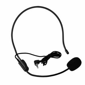 PUSOKEI Microphone Filaire 3,5 mm monté sur la tête, Mini Micro à condensateur, pour Haut-Parleur amplificateur de Voix, pour Performance sur scène, Spectacle, Chant avec Danse, enseignement