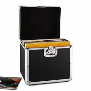 Resident DJ Zeitkapsel Valise à vinyles en aluminium pour stocker et transporter jusqu'à 70 disques (poignées de transport, fermeture en papillon, robuste) – noir