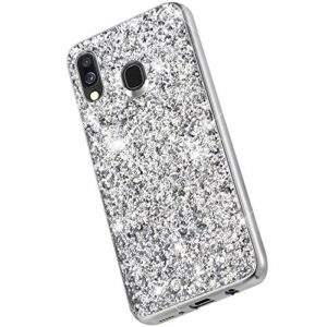 Saceebe Compatible avec Samsung Galaxy A40 Coque Brillante Diamant Paillette Strass Coque Femme Glitter Silicone Housse Etui de Protection Antichoc Anti-Rayures Ultra Fine Mince Étui,Argent