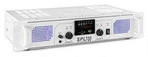 Skytec SPL700MP3 – Amplificateur professionnel, 2X 350 Watts Blanc, SD, MP3, USB idéal pour une utilisation mobile, DJ, HIFI, Home Cinéma