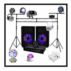 SONO 480W avec AMPLI ENCEINTES TABLE DE MIXAGE + PORTIQUE DJ 3M + 9 JEUX DE LUMIERE + MACHINE A FUMEE éclairage de scène pour soirée dansante, anniversaire mariage