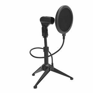 Support de microphone de bureau universel, support de micro de table réglable, support de support de microphone trépied de microphone pliable de bureau avec filet anti-éruption(noir)