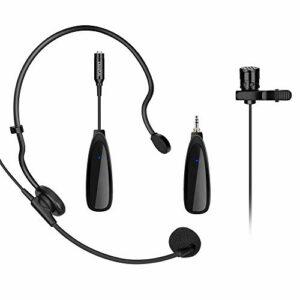 Système de microphone cravate sans fil 2,4 G avec émetteur, mini micro cravate et récepteur portable