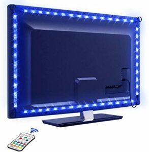 Tira LED TV 2.2M, Control Remoto, 16 RGB Colores y 4 Modos, 5050 Tiras LED USB Impermeable, HDTV / PC Monitor (40-60 Pulgada), Retroiluminacion LED de TV para Cine en Casa,