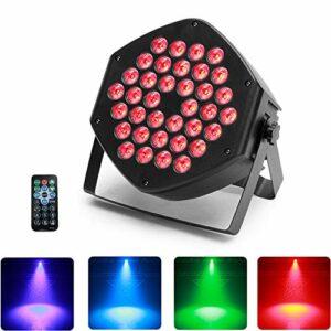 UKing 36 LED Par, 3 en 1 RGB LED Lampe de Scène, 25 ° Angle de lumière,Effet Magic Color avec télécommande 7CH DMX Contrôle du son pour DJ Club Fête Spectacle
