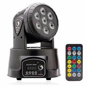 U`King LED DMX512 Disco Lumière RGBW (4 en 1) 14CH Automatique Commande Vocale 30W Disco Lumière Rotative pour Disco DJ Club Fête Bar Noël Théâtre Mariage (7LED+YK)