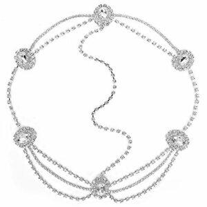 Uxsiya Chaîne de tête de Casque de Mariage exquise pour Les Anniversaires pour vêtements décontractés pour Les fêtes à la Plage(Silver)