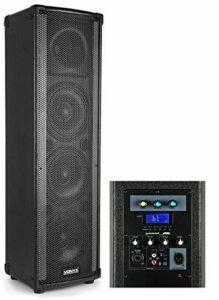Vonyx LM80 Enceinte Sono Bluetooth avec effets de lumière – Bluetooth/USB/SD/MP3, Puissance 600W, Double rangée de LEDs pour show de lumières, 5 modes d'éclairage