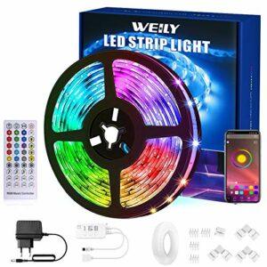 WEILY Ruban LED 15M Bluetooth, Flexible Smart APP contrôle RGB Couleur Changeante Musique Sync Bande Lumineuse LED avec connecteur en Forme de L