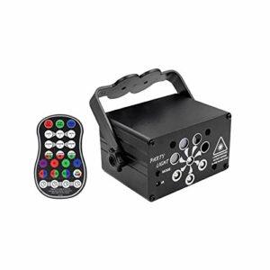 yaunli Lampe de scène disco à 8 lentilles LED activées par le son avec télécommande et fonction minuteur (couleur : noir 2, taille : taille unique)