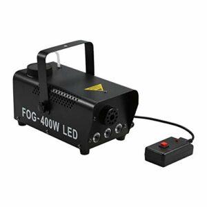 ZzheHou Machine À Brouillard De Fête 400W Contrôle sans Fil Fogger Smoke Machine 3 LEDs RVB Lumière De Scénographie Entrelacée Entrelacée (Couleur : Black, Size : UK)