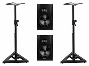 Adam Audio T8V Set de 2 trépieds de studio actifs 2 voies avec 2 supports Pronomic Noir