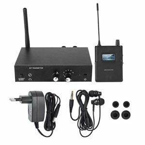 Agatige Convient pour Le système de Surveillance sans Fil stéréo UHF, Le système Intra-auriculaire 670-680mhz 100-240v, pour la scène ou Le Studio d'enregistrement.(Moi)