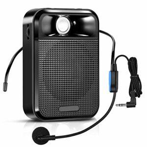 APROTII Amplificateur de voix, haut-parleur Bluetooth portable avec écouteurs et microphone de câble, mini amplificateur puissant pour guidage touristique, formation et présentation, etc.