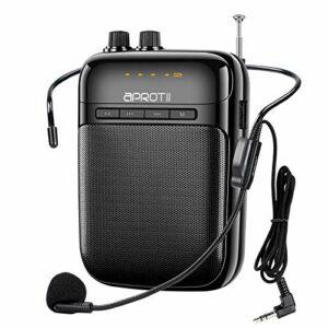 APROTII Amplificateur vocal portable 12 W 2000 mAh Système PA rechargeable Bluetooth amplificateur vocal avec microphone avec câble pour enseignants, entraîneurs, guide touristique