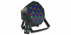 Audibax Montana 36 – Spot LED RGB 36 x 1 W – Télécommande incluse – Spécial pour fêtes – Discothèques – Spot LED Ambiance d'événements – Lampe lumière LED – Activation par son