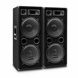AUNA Pro PW – Enceintes de Sono passives, Lot de 2: 2 x Enceintes de Sono, Enceintes 2 Voies, Tweeter piézo, médium à pavillon, subwoofer 38 cm (15″) – Noir