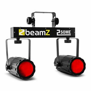 BeamZ 2-Some Set avec 2 projecteurs – 2 x 57 LEDs, Couleurs RGBW, télécommande Infrarouge, Barre en T, idéal pour DJ Mobiles, Bars, discothèques