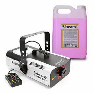 BeamZ S1500LED Machine à Brouillard 1500W 9X LED RVB 3 W DMX + 5l de Liquide