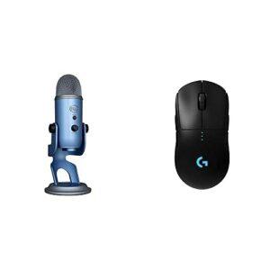 Blue Microphones Yeti, Micro USB pour Enregistrer et Diffuser sur PC et Mac, 3 Capsules Statiques, Sortie Casque + Logitech G PRO Souris Gamer sans Fil, Capteur Gaming HERO Boutons Programmables