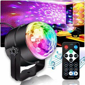 Boule disco Morfit LED – Lumière de fête – Contrôle par musique – Éclairage de scène – 3 W RVB – Activé par la voix – Avec télécommande – Pour fête de Noël, mariage, spectacle en club (1 pièce)