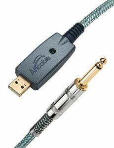 Câble Guitare Doré USB Mâle vers 6,35mm Connecteur Jack Mono TS Adaptateur pour Guitare Électrique Basse vers PC Câble Convertisseur USB Pour Instruments d'enregistrement en Chantant Plaqué