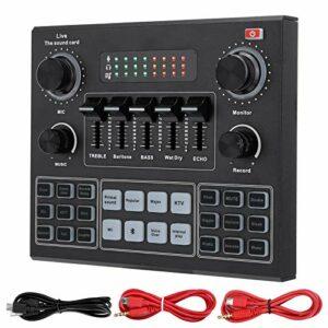 Carte Son en Direct V9, Table de Mixage Audio Portable Bluetooth Carte de Mixage de Son pour l'enregistrement de Musique de Chant Karaoké sur Ordinateur de Téléphone Portable