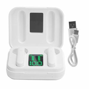 CCYLEZ Véritables écouteurs sans Fil, écouteurs Bluetooth 5.0, écouteurs sans Fil, Bouchons d'oreille étanches pour Le Sport, écouteurs de Sport Multifonctions, avec écran LED, pour Le Sport(Blanc)