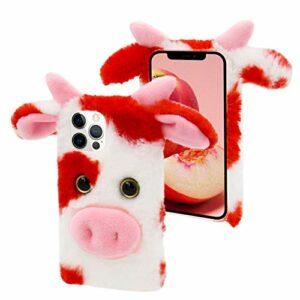 CESTOR Fourrure Coque pour Samsung Galaxy A32 5G,Mignon 3D Vache Bœuf Animal Velu Peluche Étui de Protection Hiver Chaud Souple Silicone TPU Anti-Choc Housse,Rouge Blanc
